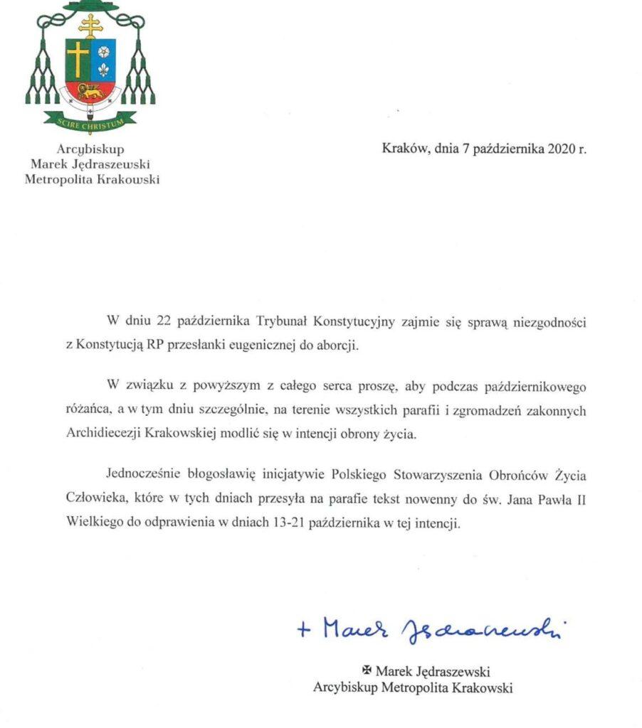 Metropolita Krakowski ks. abp Marek Jędraszewski błogosławi Nowennę Życia